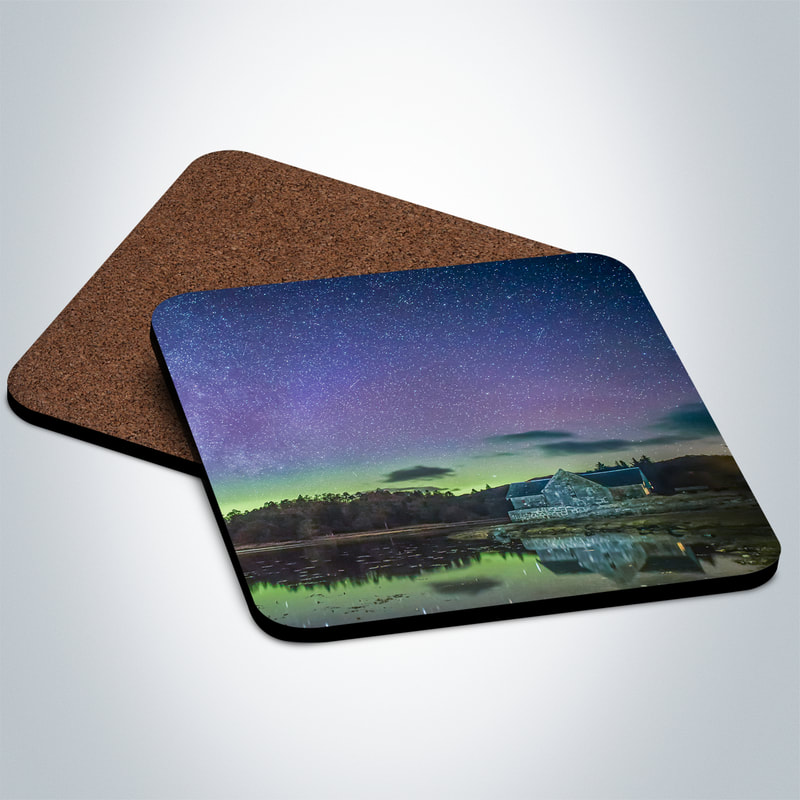 Souvenir photo coaster featuring an image of the Northern Lights above the old boathouse by the side of Loch Aline on Ardtornish Estate | Morvern Scotland