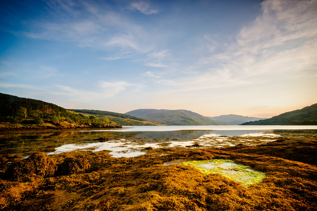 A calm and late spring evening sunset at Ardnastang Beach | Sunart Scotland