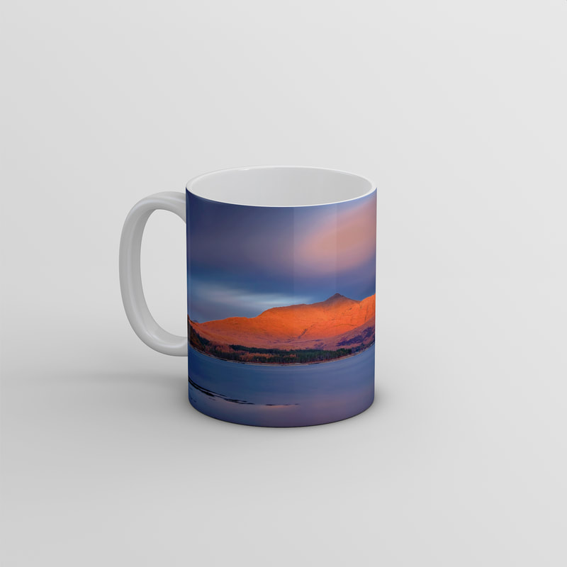 Souvenir photo mug featuring an image of Ben Resipole viewed from across Loch Sunart with the mountain let red from the sunset | Sunart Scotland
