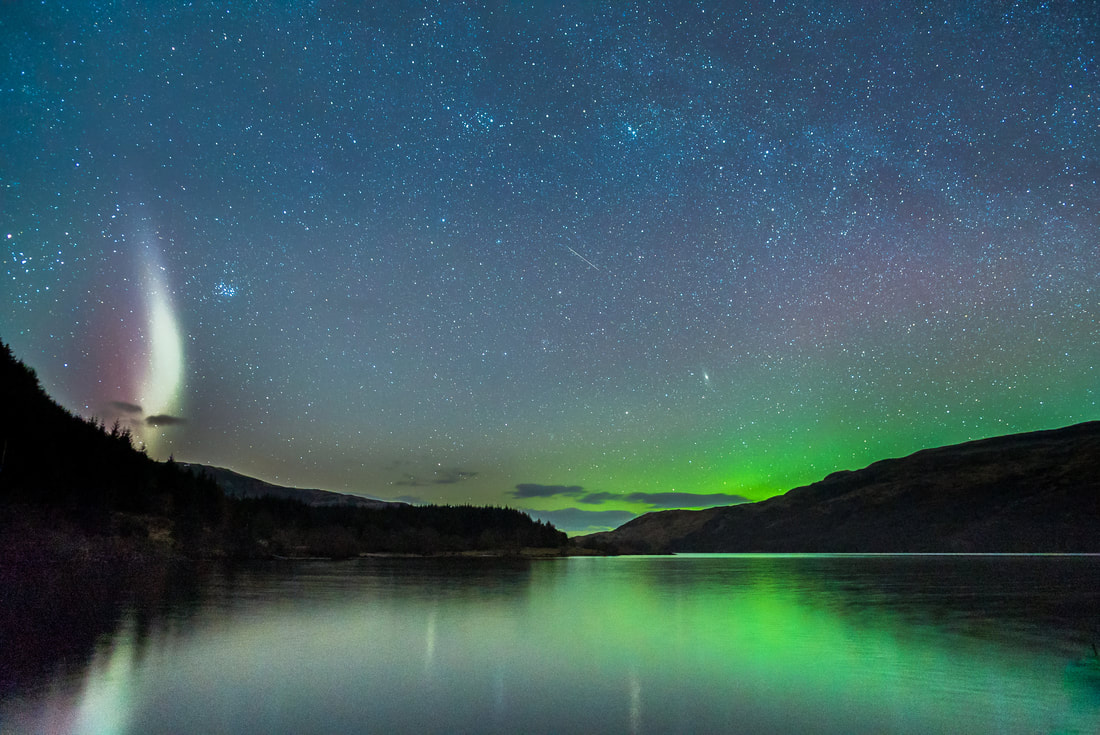 The Northern Lights and a Sub-auroral Arc in the western night sky above Loch Arienas | Morvern Scotland