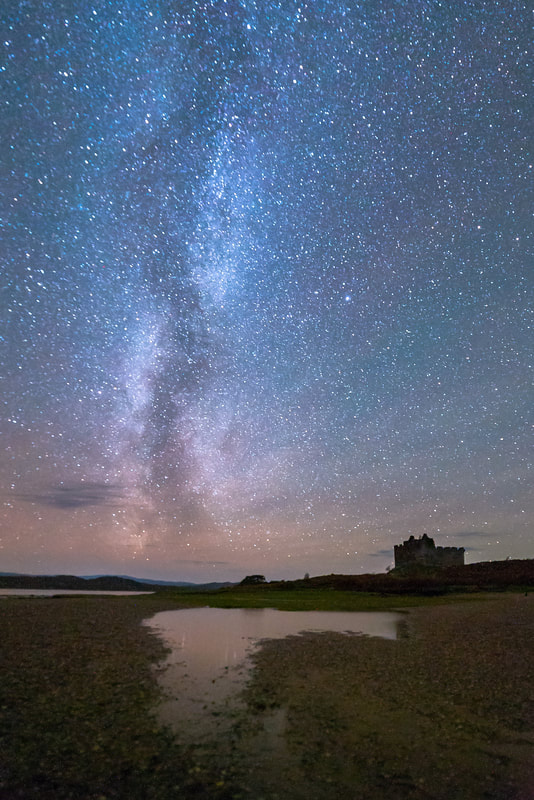 The Milky Way soaring over Castle Tioram and the South Channel of Loch Moidart | Moidart Scotland